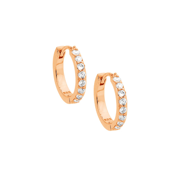 Ellani Rose Gold CZ Huggie Earrings