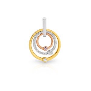 Pink Caviar Diamond Circle Pendant