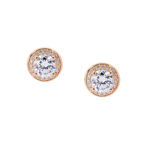 Ellani CZ Rose Gold Halo Earrings