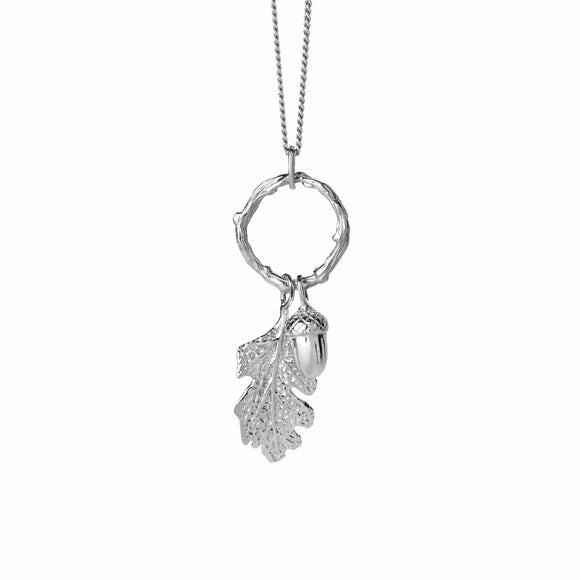Karen Walker Acorn & Leaf Loop Necklace Silver