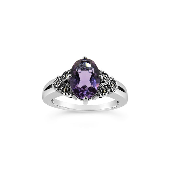 Esse Amethyst and Marcasite Ring
