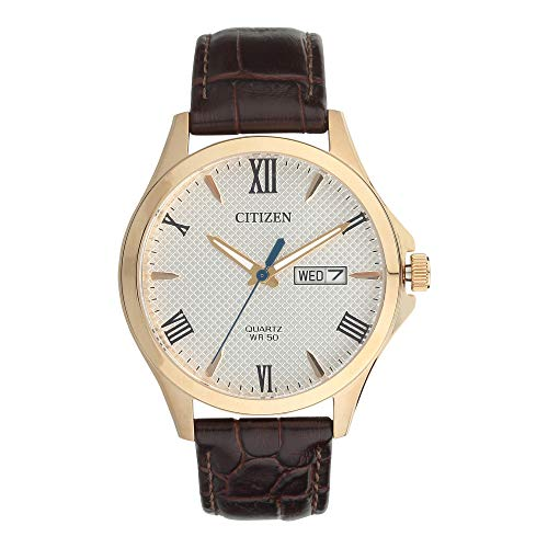 Citizen Quartz Gents Rose Gold with Brown Leather Strap