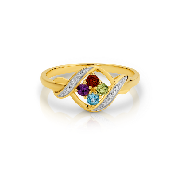 9ct Yellow Gold Multi Coloured Gem Ring