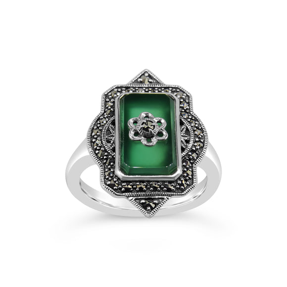 Esse Green Agate and Marcasite Ring