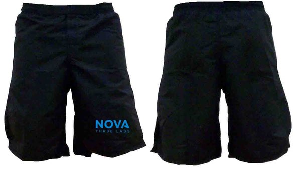 Men's shorts, black with blue writing!