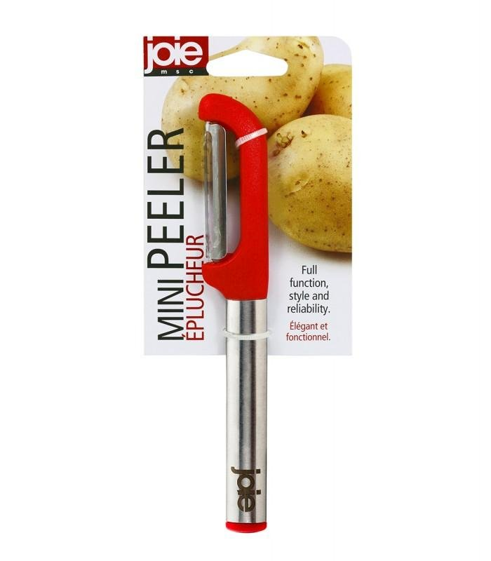 "Joie 6.75"" Mini Fruit & Veggie Peeler - Stainless Steel Blade - Red"