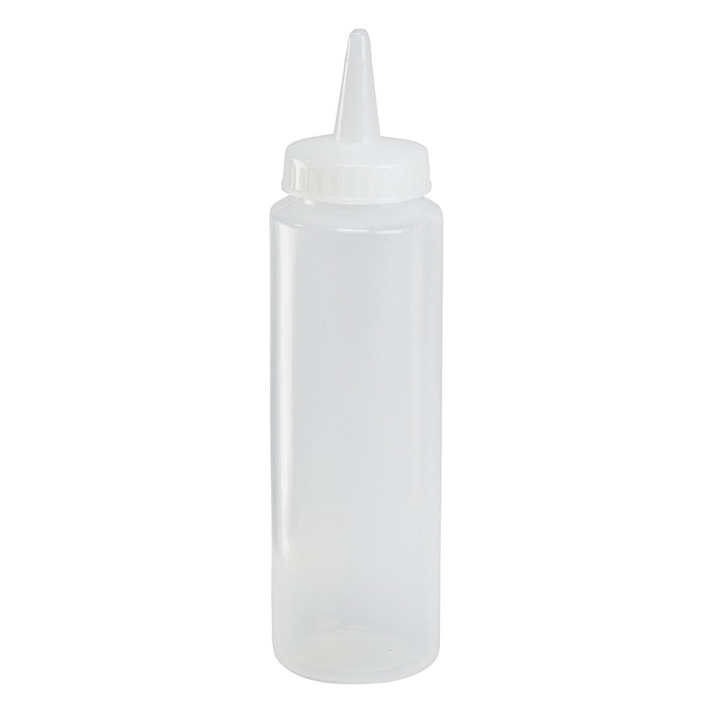 HIC 8 oz Clear Plastic Squeeze Bottle - Condiment Dispenser