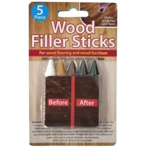 5 Piece Wood Filler Sticks - Repair & Restore Scratches on Wooden Flooring & Furniture