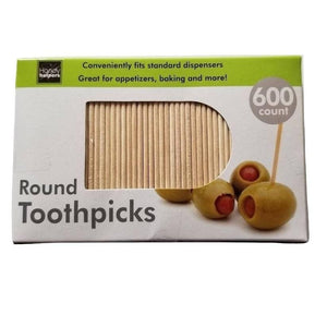 "600-Count Round 2.5"" Long Wooden Toothpicks - Great for Appetizers, Baking and more!"