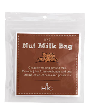 "HIC Reusable and Machine Washable Polyester 11"" x 9"" Nut Milk Bag"