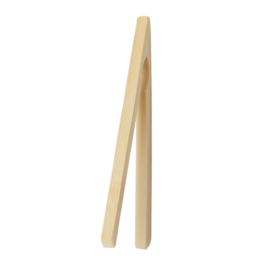 "HIC 6.5"" Natural Bamboo Toast Tongs"
