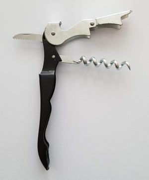 Waiter's Corkscrew Wine Bottle Opener - Built In Cork Remover, Bottle Cap Opener & Foil Cutter