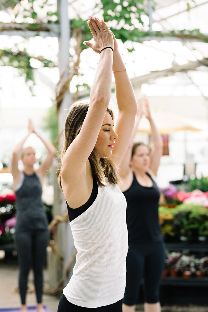 Yoga in a greenhouse is ALWAYS a good idea. Girls Morning Out!