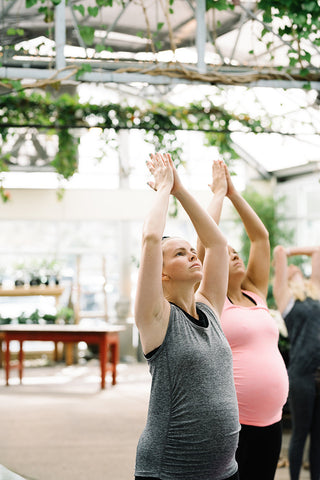yoga in a greenhouse is always a good idea girls morning