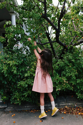 Wren & James Linen Pinafore in Dusty Rose