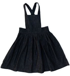 Apron Pinafore in Black Denim