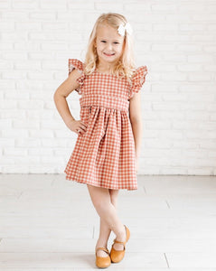 Pinafore in Terra-Cotta Gingham