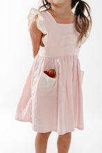 Load image into Gallery viewer, Linen Pinafore in Strawberry and Cream