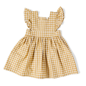 Girls Mustard Gingham Pinafore