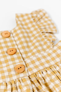 Girls Mustard Gingham Dress