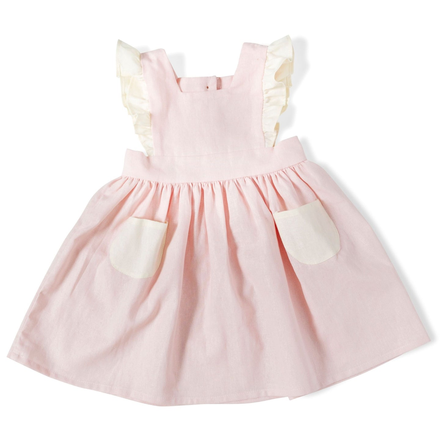 Linen Pinafore in Strawberry and Cream