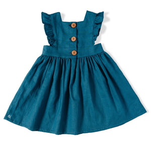 Linen Pinafore in Blue Raspberry
