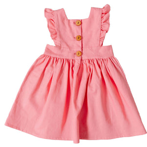 Linen Pinafore in Guava