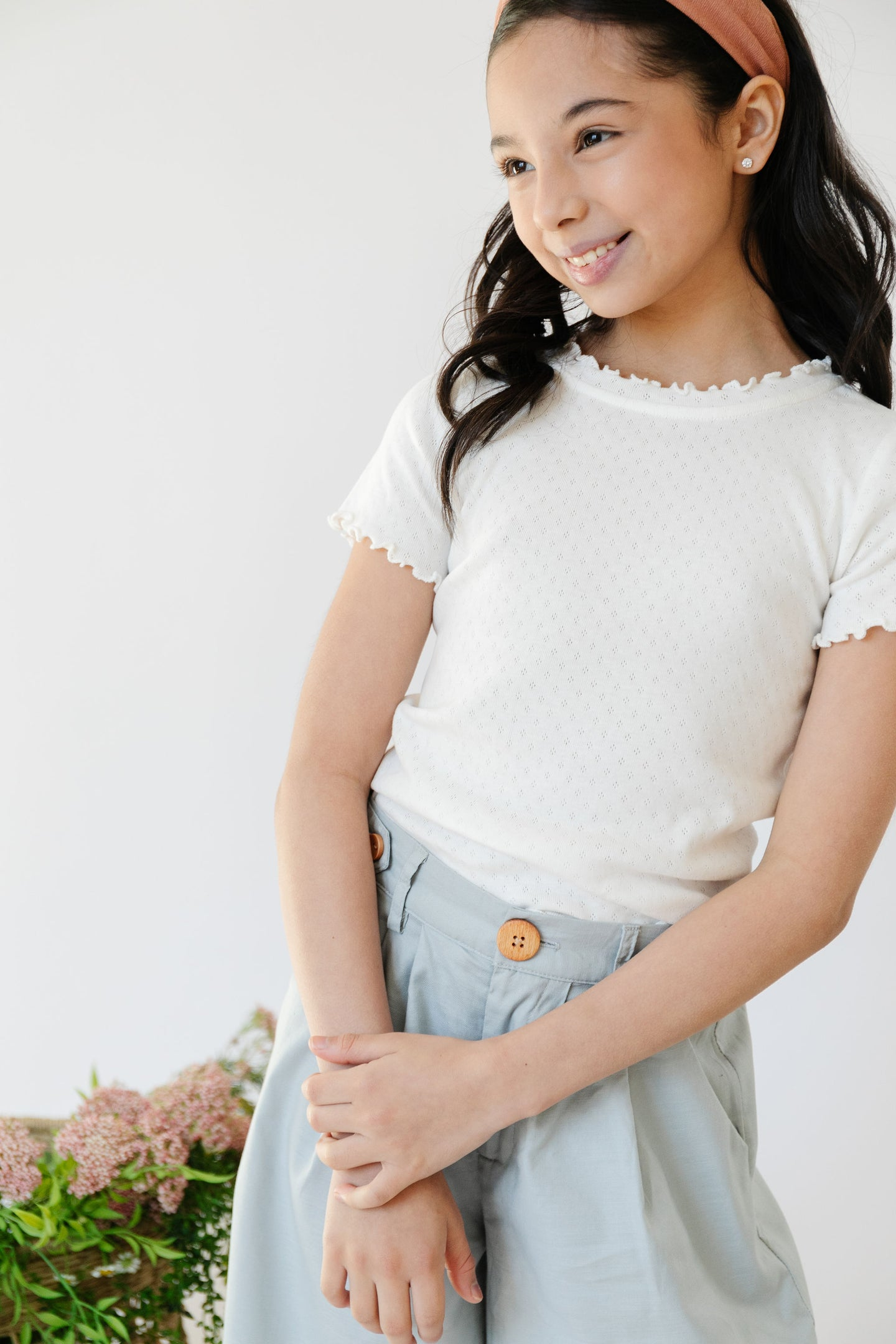 Lucy Top in Pointelle White