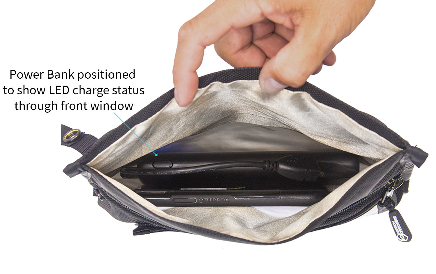 Mission Darkness™ NeoLok Faraday Bag for Phones with Charging Kit