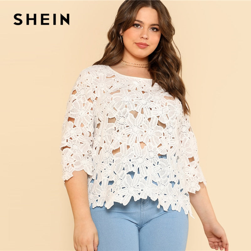 f6af00f9695 SHEIN Cut Out Floral Lace Top 2018 Summer Round Neck Three Quarter Length  Sleeve Lace Plus