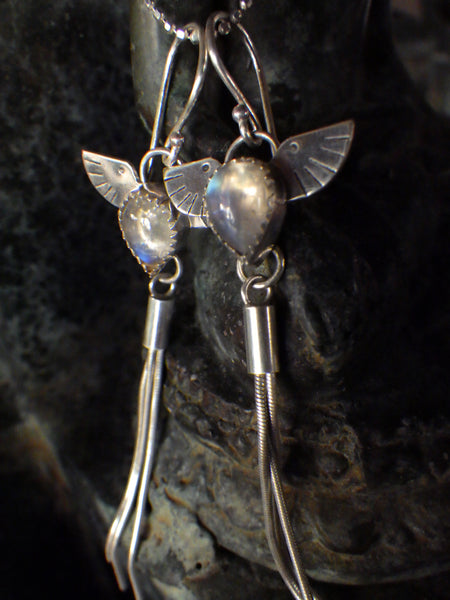 Mare Nubium Earrings with Rainbow Moonstone