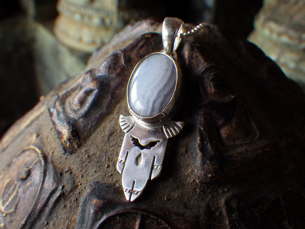 Icarus Pendant with Blue Lace Agate