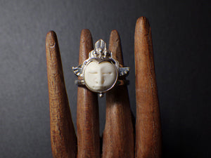 Moonking Ring with Bone Carving