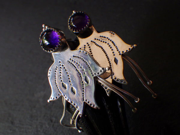 Ame Agaru Earrings with Amethyst
