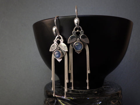 Birds-of-paradise Earrings with Kyanite