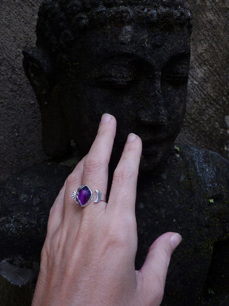 Eternity free size Ring with Amethyst