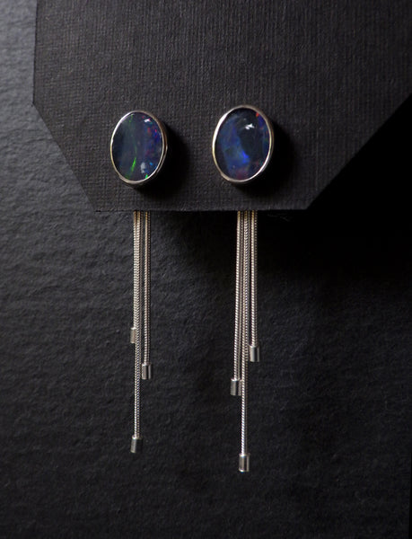 Hujan Earrings with Opals