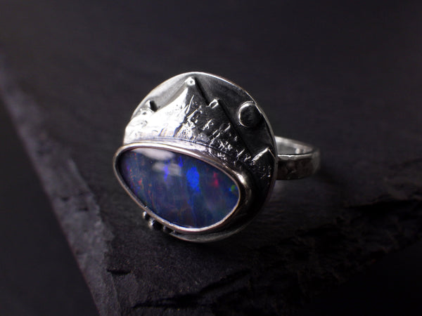 Tso Moriri (Himalayan Lake) Ring with Opal