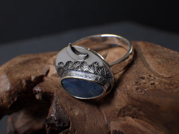 Windy Night Ring with Opal