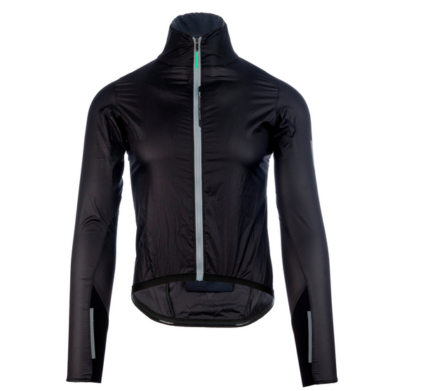 Front view of the Q36.5 air shell wind jacket in black. With reflective zip and arm tabs for high visibility. Stock in Australia at Chainsmith