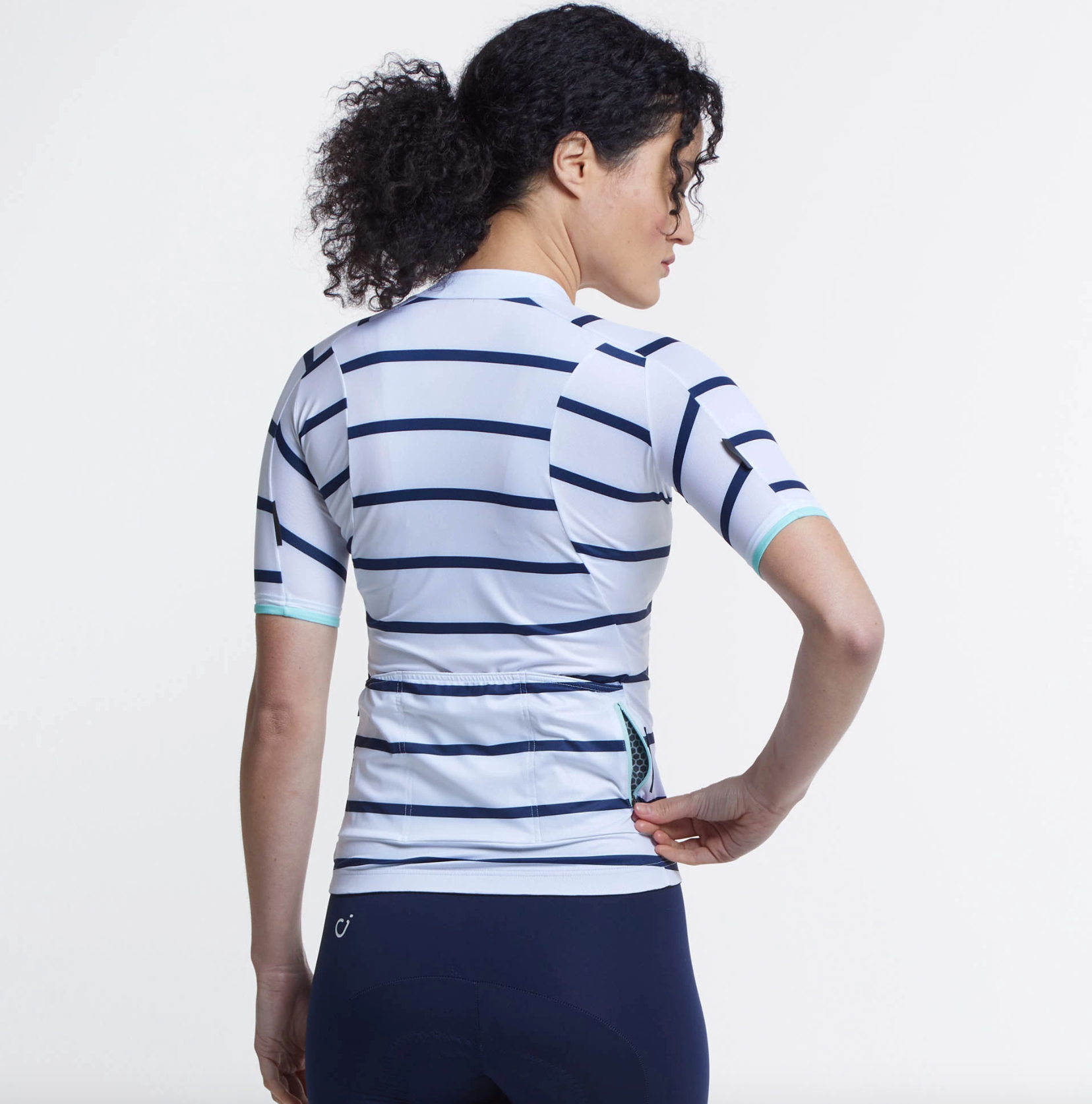 VELOCIO WOMENS BRETON JERSEY White Navy - CHAINSMITH BIKE SHOP