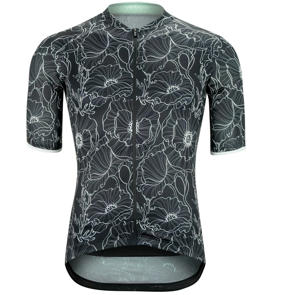 VELOCIO SE FLORAL MENS JERSEY BLACK - CHAINSMITH BIKE SHOP