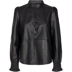 Pieszak Collection Lanni Leather puffy shirt Shirts & Blouses 9 Black