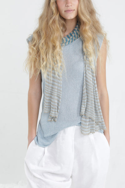 Sky Blue Aqua Boat neck sleeveless knit top