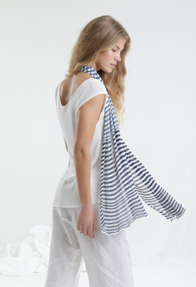Blue & White Tremilor stripes Bamboo Scarf