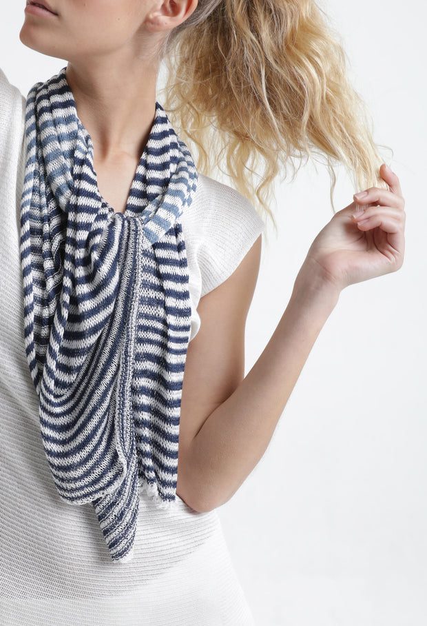 Tremilor stripes Bamboo Scarf - Turquoise & Taupe / Blue & White