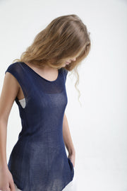 Deep Indigo Navy Blue Boat neck sleeveless knit top