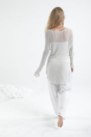 Loose knit sweater with side slits - Broken white