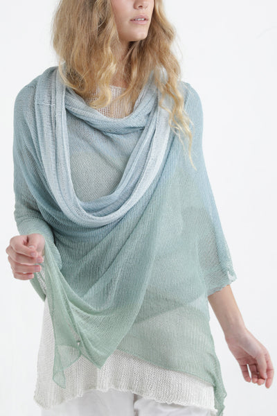 Aqvarelle Big Air Bamboo Sheer Scarf - Light Teal - Aqua / Sunset