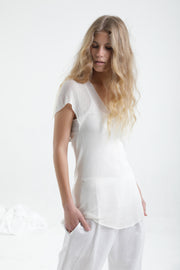 Off white V neck Cross knit top with short sleeves